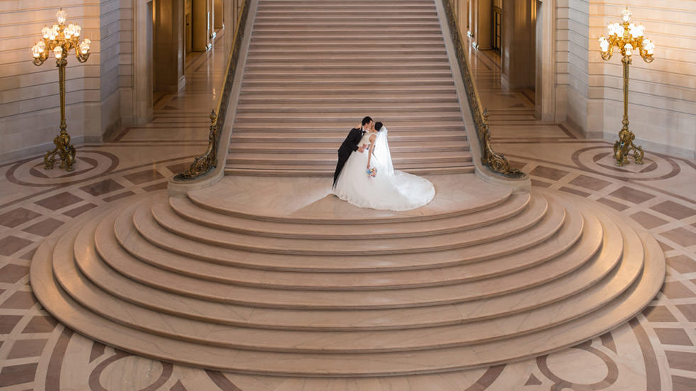 City Hall Grand Staircase kiss