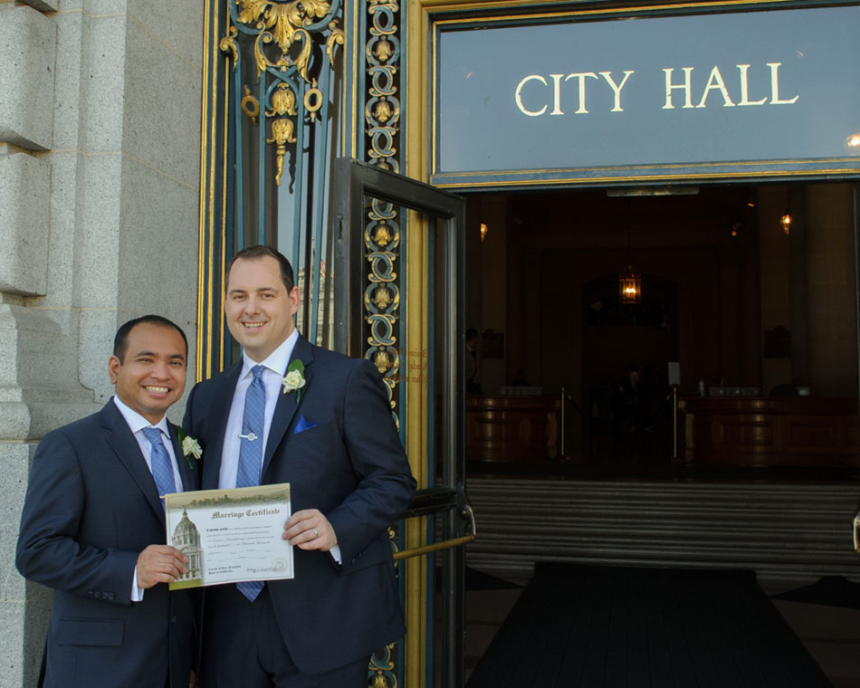 gay city hall wedding photography in San Francisco